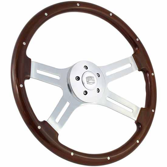 "Mk1 Classic Car Parts Dark Wood Rim Riveted Semi Dished 14/"" Steering Wheel"